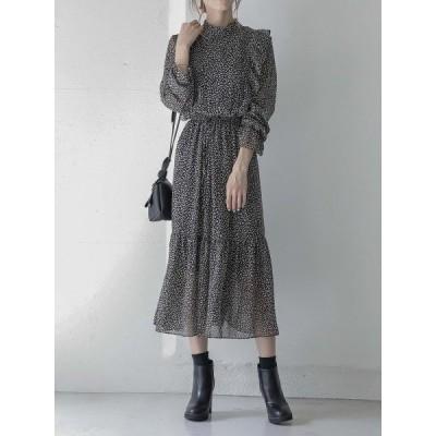 ドレス フリルデザインレオパードドレス