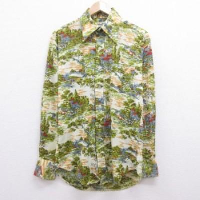 古着 長袖 シャツ 70年代 70s 家 木 生成り他 Mサイズ 中古 メンズ トップス シャツ トップス 古着