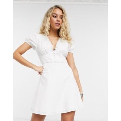 エンクリーム レディース ワンピース トップス En Creme mini tea dress with ladder inserts and tie sleeves