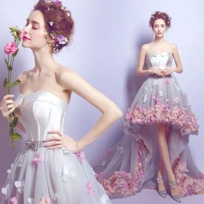 ウエディングドレス ドレス レディース ベアトップ カラードレス 花嫁ドレス 結婚式 トレーンタイプ ドレス パーティードレス 演奏会ドレス 写真撮影 ドレス