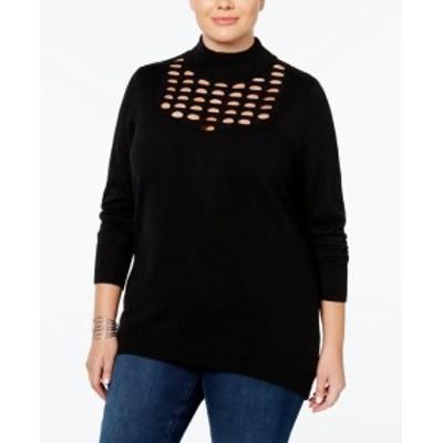 ファッション トップス LOVE SCARLETT NEW Black Womens Size 2X Plus Cut Out Mock Neck Sweater