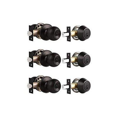 Probrico Oil Rubbed Bronze Door Knobs with Single Cylinder Deadbolts Exteri
