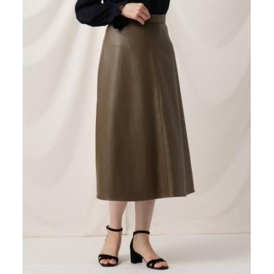 (Couture Brooch/クチュール ブローチ)フェイクエコレザースカート/レディース ブラウン(042)