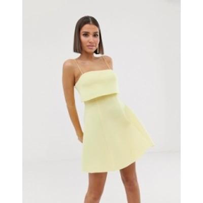エイソス レディース ワンピース トップス ASOS DESIGN crop top scuba skater mini dress Yellow