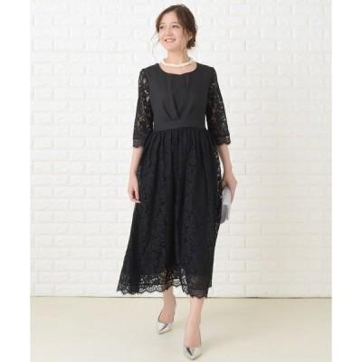 ドレス 編み上げリボンミモレ丈 ワンピース・ドレス