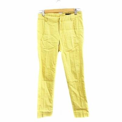 【中古】ナイン NINE パンツ スラックス センタープレス 麻混 リネン混 0 黄色 イエロー /AAO15 レディース