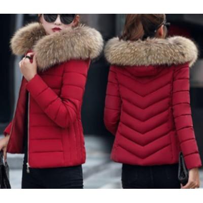 冬新作 冬コートレディース アウター ダウン ダウンジャケット ブルゾン フェイクダウン フード付き コート 上着 中綿 ファーフード