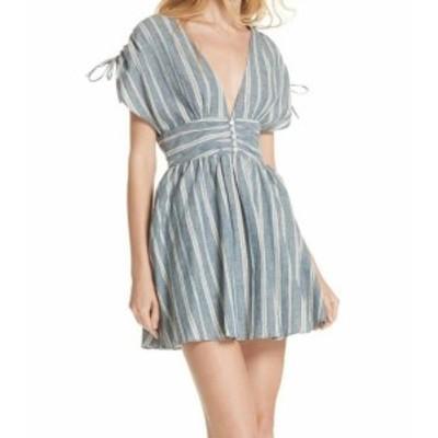 Free People フリーピープル ファッション ドレス Free People NEW Blue Womens Size Medium M Striped A-Line Dress