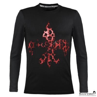BlackVaria Tシャツ 豹柄 ヒョウ ユリ 紋章 クルーネック 丸首 長袖Tシャツ スリム 細身 mens メンズ(ブラック黒) crzkk045ls