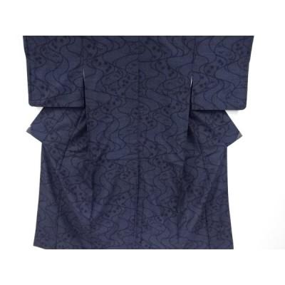 リサイクル 流水に楓笹模様織り出し本場結城紬80亀甲着物(石下)