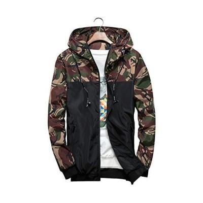 ウィンドブレーカー ジャケット メンズ マウンテンパーカー おしゃれ 迷彩柄 パーカー フード付き 服 ジップアップ 秋冬 軽量 防風 撥水