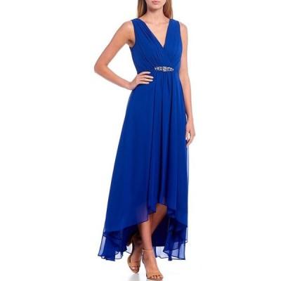 エリザジェイ レディース ワンピース トップス V-Neck Sleeveless Belted Empire Waist Hi-Low Gown