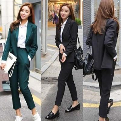 セットアップ パンツスーツ S-XL 黒L即納 レディース 予約 結婚式 2枚 長袖 袖あり 26533 ジャケット パンツ パンツドレス 上下セット ツ