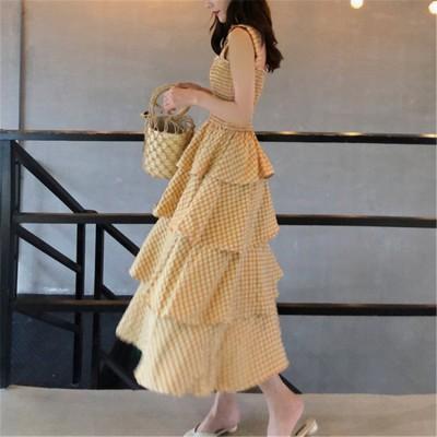 [55555SHOP]  春夏  品質いいな新品 着やせ効果抜群 ファッション オールマイティー 袖なしロング ワンピース 休暇スタイルの服 ケーキスカート