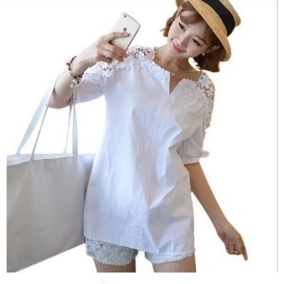 ブラウス 刺繍 チュニックトップス シャツ Tシャツ レディース 花柄 レース オーバー 春夏 半袖 スキッパーシャツ 大きいサイズ