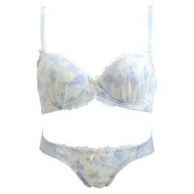 PalisseePalissee フラワー刺繍×水彩プリント ブラショーツセット ABCD 小さいサイズ レディース