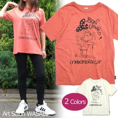 【水森亜土】ヘンプ&オーガニックコットンTシャツ<Peach Echo(オレンジ)><Mサイズ><半袖> ゆったり 大人かわいい 大人カジュアル イラスト