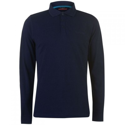 ピエール カルダン Pierre Cardin メンズ ポロシャツ トップス Plain Long Sleeve Polo Shirt Navy