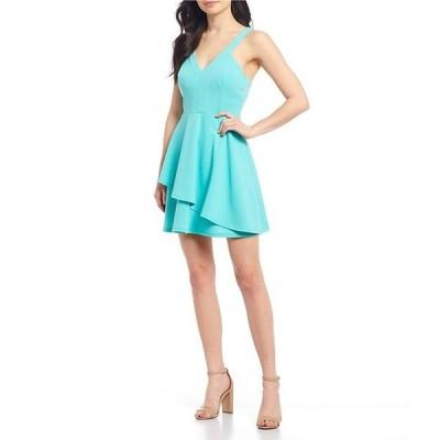 ティーズミー レディース ワンピース トップス V-Neck Double-Hem Fit & Flare Dress