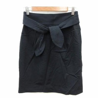 【中古】ボールジー BALLSEY トゥモローランド 台形スカート ひざ丈 ウエストマーク 38 黒 ブラック /ST レディース