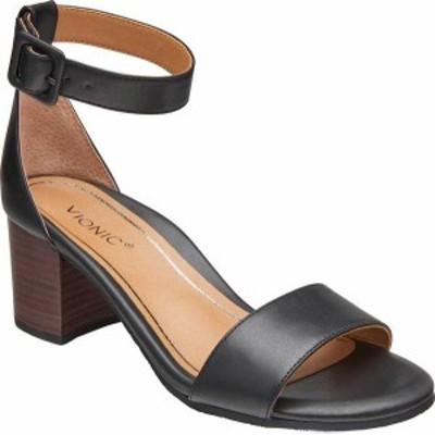バイオニック レディース サンダル シューズ Women's Vionic Rosie Ankle Strap Sandal Black Leather
