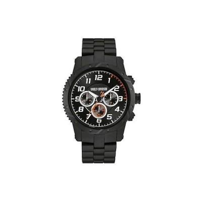 腕時計 パーツ アクセサリー 腕時計 ハーレーダビッドソン Harley-Davidson Mens Chronograph Brake Plate Watch, Black Stainless Steel 78B138