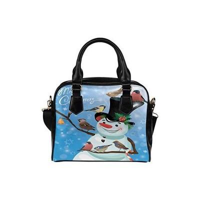 Christmas Snowman Bird PU Leather Purse Handbags Shoulder Crossbody Bag for Women Girls【並行輸入品】