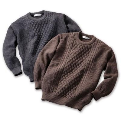 mij エムアイジェイ 日本製ウール100%クルーセーター 1607 M/L/LL チャコール/ブラウン