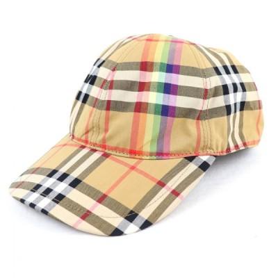 バーバリー ロンドン BURBERRY LONDON レインボーチェック ベースボールキャップ 帽子 M 茶系×マルチ 美品【Z5-5981】