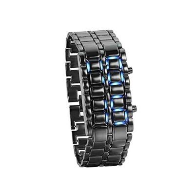 レディース メンズ 腕時計 ファッション ノベルティ ラバ レッド ブルー LED デジタル ステンレススチール ブラック ブレスレットウォッチ ブル