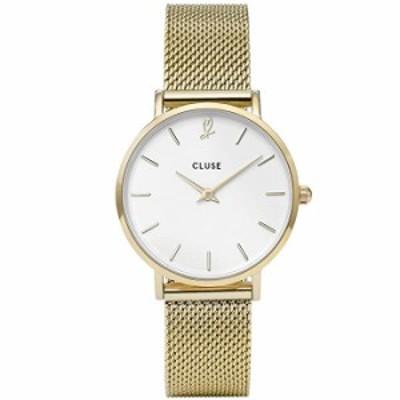 腕時計 Cluse Women's 33mm Gold-Tone Steel Bracelet Brass Case Quartz White Dial Analog Watch CLG012