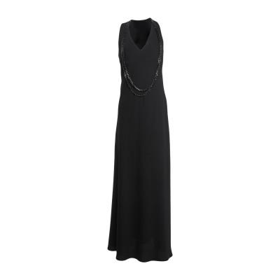 MEM.JS ロングワンピース&ドレス ブラック 42 ポリエステル 100% ロングワンピース&ドレス