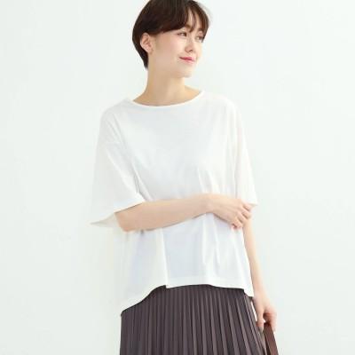 インディヴィ INDIVI フレアスリーブルーズTシャツ (ホワイト)