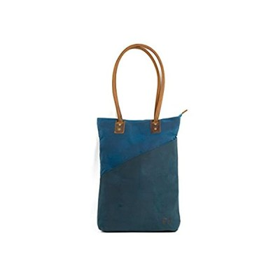 the TALL TOTE   Waxed Cotton Canvas shoulder bag with leather handles (Rain