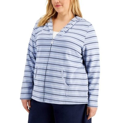 ケレンスコット カットソー トップス レディース Plus Size Rachel Striped Hoodie, Created for Macy's Light Blue Heather