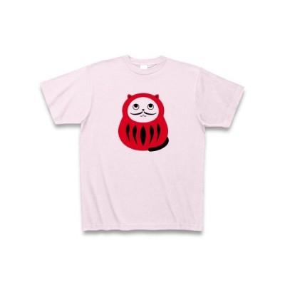 猫ダルマ(ひげ細) Tシャツ(ピーチ)