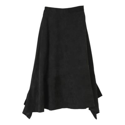(miette/ミエット)MIXコーデュロイアシンメトリースカート/レディース ブラック
