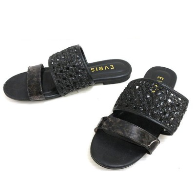 【中古】エヴリス EVRIS メッシュ フラット サンダル L クリアパイソン ブラック 黒 シューズ 靴 レディース 【ベクトル 古着】