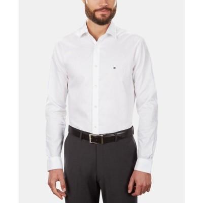 トミー ヒルフィガー シャツ トップス メンズ Men's Slim-Fit Stretch Solid Dress Shirt, Online Exclusive Created for Macy's White