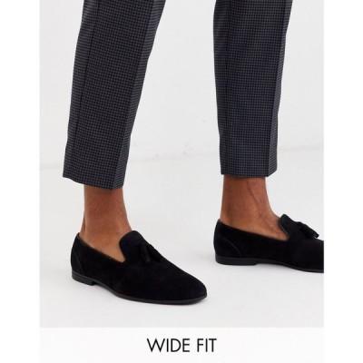 エイソス ASOS DESIGN メンズ ローファー シューズ・靴 Wide Fit Tassel Loafers In Black Faux Suede ブラック