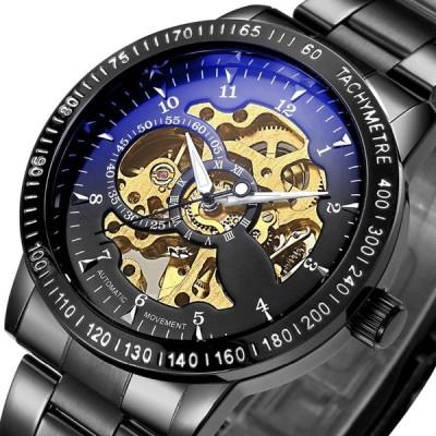 腕時計 男性高級ブランド ステンレス鋼 メカニカル腕時計 クラシックファッションスケルトン腕時計 ビジネス時計 輸入雑貨