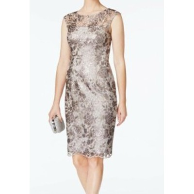 Adrianna Papell アドリアーナ パペル ファッション ドレス Adrianna Papell Womens Dress Beige Size 12 Sheath Floral Lace Sequin