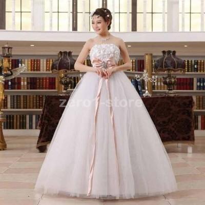 !ウェディングドレス 豪華な ウェディングドレス☆ロングドレス結婚式二次会パーティー エンパイアドレス編み上げ.