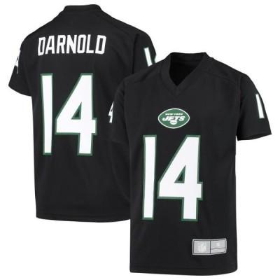 キッズ スポーツリーグ フットボール Sam Darnold New York Jets Youth Player Name & Number V-Neck Raglan Top - Black Tシャツ