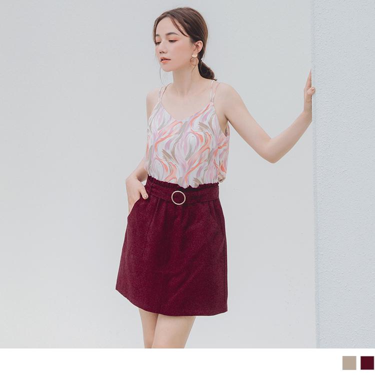 純色涼感荷葉鬆緊短裙褲裙(附腰帶)