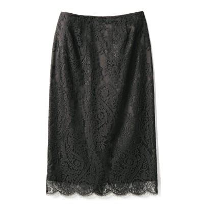 リバーレース ペイズリー柄 スカート ブラック 70