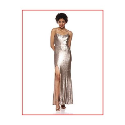 【新品】Dress the Population Women's Ingrid Sleeveless Sequin Long Gown with Slit Dress, Bronze, XXL【並行輸入品】