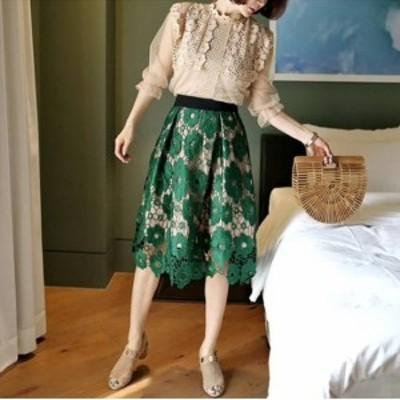 スカート レディース ひざ丈 ひざ丈スカート ウエストゴム 刺繍 刺繍スカート 総レース レーススカート 透け感 ふんわり 華麗 Aライン
