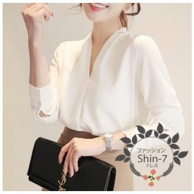 ブラウス レディース 白いシャツ vネック シフォン 長袖 フォーマル トップス 大きいサイズ 通勤 OL オシャレ 大人 上品