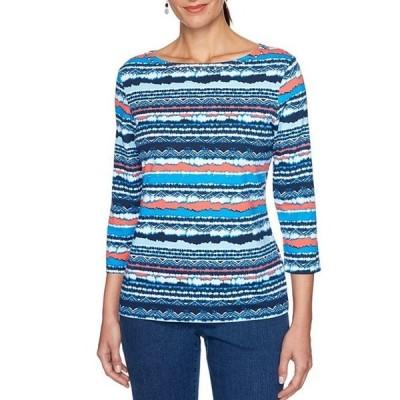 ルビーアールディー レディース Tシャツ トップス Stripe Print Embellished Boat Neck 3/4 Sleeve Knit Top